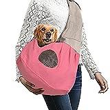Shoulder Carry Handbag for Pets - VSOAIR Portable Hands-free Pet Foldable Travel Carrier Bag, Sling Shoulder Bag for Small Dog Cat Rabbit Guinea Pig (Pink)