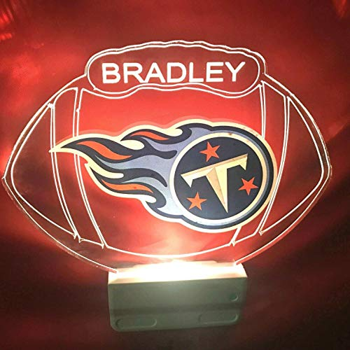 Tennessee Titans NFL Football Night Light Multi Color Personalized LED Plug-in, Ultra-Slim Cool-Touch Light with Smart Dusk to Dawn Sensor, Family Room Bedroom Kitchen Bathroom Hallway, Super ()