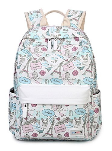 HAPPYTIMEBELT Double Zipper Eiffel Tower Printing School Backpack Student Book Bag(Blue) -