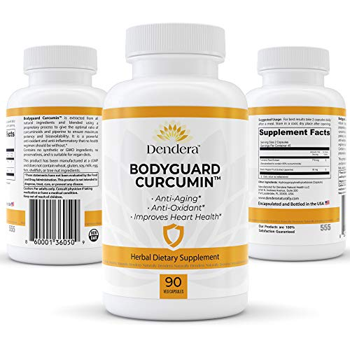 Dendera Naturally Bodyguard Curcumin – 95% Curcuminoids with Black Pepper for Extra Strength and Absorption – Herbal Supplement for Pain Relief, Inflammation, Joint Support – No Stearates – 90 Caps