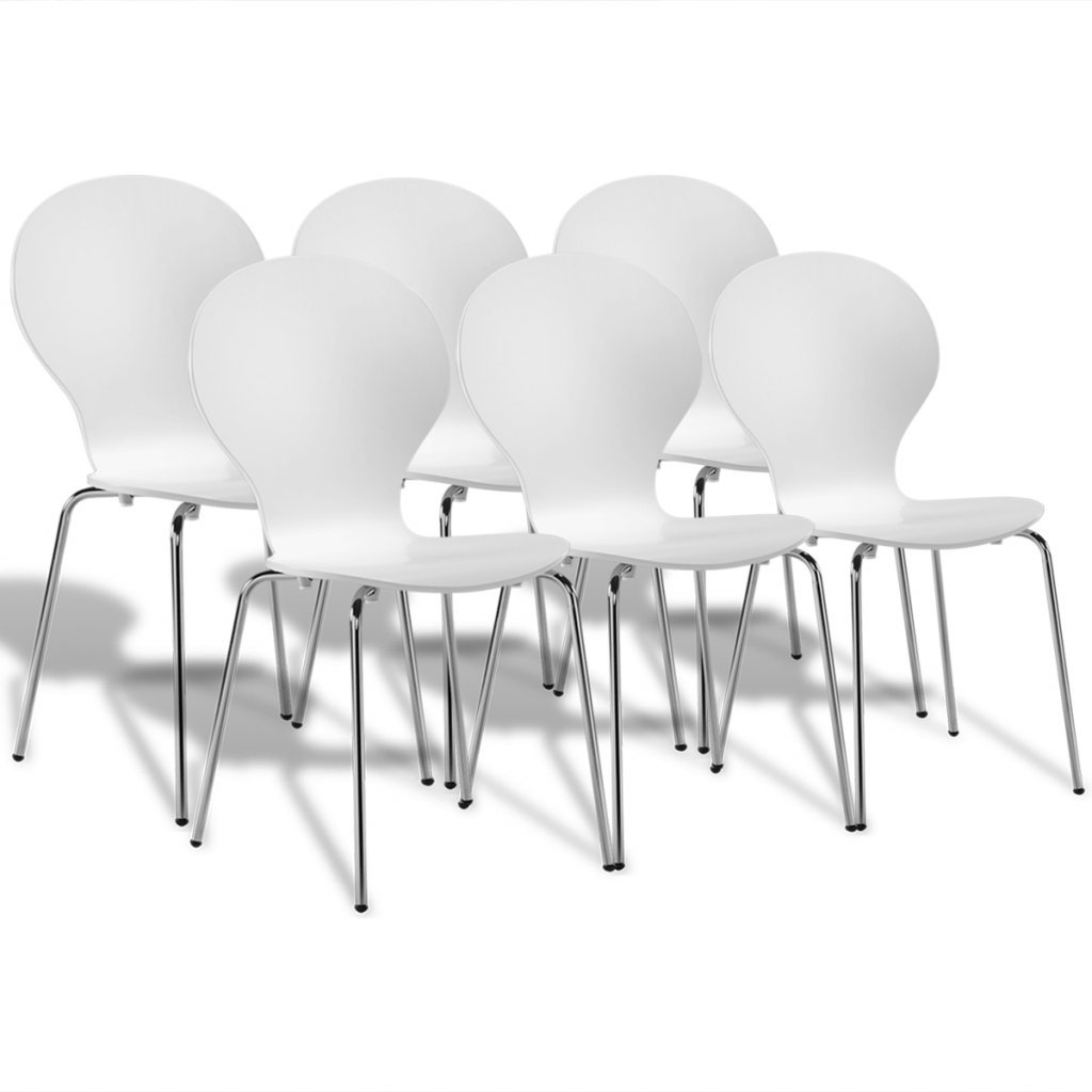 Anself Stackable Chair Dining Chairs Butterfly Design White Set of 2