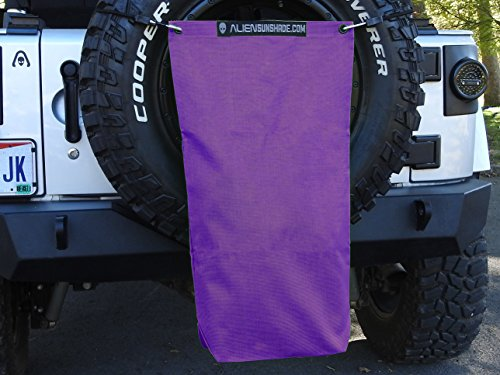 """ALIEN SUNSHADE Jeep Wrangler Mesh RubiSack Exterior Storage Bag for Trash or Trail Gear with 10 Year Warranty – Includes 48"""" Carabiner Bungee (Royal Purple)"""