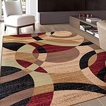 Amazon Com New Burgundy Black Green Swirl Area Rug Modern