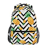 ZOEO Girls Pineapple Backpacks Chevron Black and White 3th 4th 5th Grade School Bookbags Travel Laptop Daypack Bag Purse for Kids Teens