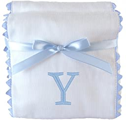 Princess Linens Garden Pique Burp Pad Set - White with Light Blue Rick Rack Trim-Y