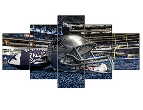 Cowboy Framed Canvas - Large NFL Sports Painting Dallas Cowboys Canvas Prints Wall Art Super Bowl Home Decor Framed 5 Pcs Pictures Modern Artwork Home Decor for Living Room Giclee Stretched Ready to Hang(60''Wx32''H)