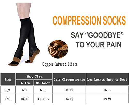 Copper Compression Socks For Men & Women(3 Pairs)- Best For Running,Athletic,Medical,Pregnancy and Travel -15-20mmHg (S/M, Multicoloured 2) by FuelMeFoot (Image #6)
