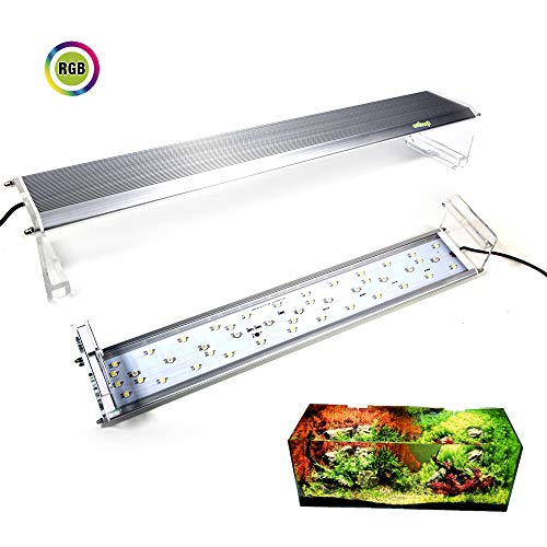 Fzone Aquarium RGB LED Light, Full Spectrum 100-level Stepless Brightness Adjustable Aquatic Plant Led Light for 24-32 inch - 32 Inch Wide Four Light