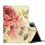 iPad Pro 12.9 Case 2020,AMOOK Adjustable Folio Smart Cover Stand Shockproof TPU Case with Auto Sleep/Wake & Anti-Slide Design for Apple iPad Pro 12.9 Inch 4th Generation - Pink Rose Flower