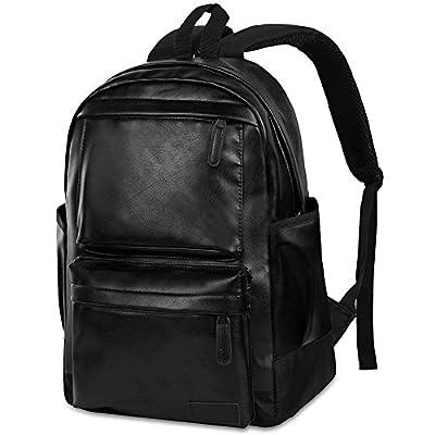 9527da59cd18 Vbiger PU Leather Backpack Waterproof Travel Daypack School College Laptop  Backpack College Rucksack Bookbag for Men