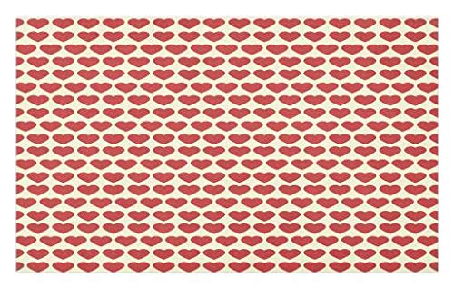 Tile Valentine (Ambesonne Valentine Doormat, Vibrant Red Colored Heart Shapes Tile Pattern Romantic in Love Theme Design, Decorative Polyester Floor Mat with Non-Skid Backing, 30 W X 18 L Inches, Ivory Dark Coral)
