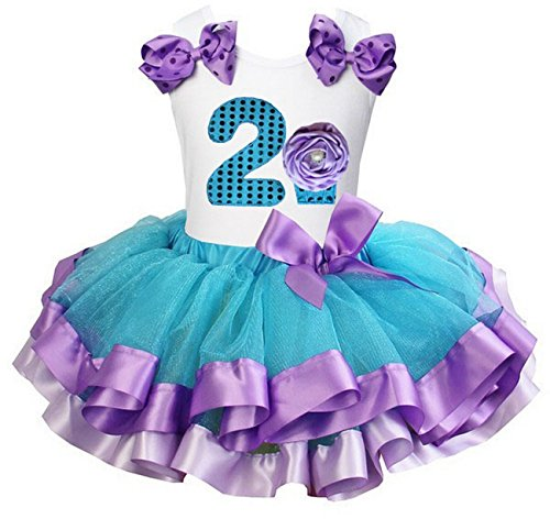Kirei Sui Girls Blue Lavender Satin Trimmed Tutu 2nd Cupcake Birthday Party Dress X-Small