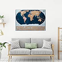 Travel Scratch Off Map with Bonus Accessories – World Map Poster with Country Flags and United States Outlined (Large) - Artist Designed Vibrant Colors – Perfect Home and Office Wall Decor