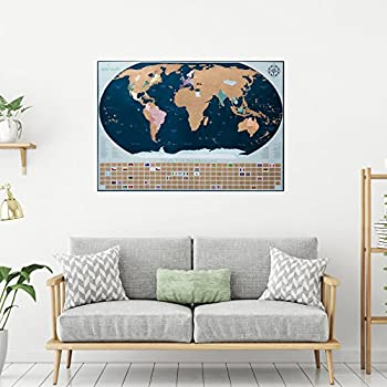 Amazon travel scratch off map with bonus accessories world travel scratch off map with bonus accessories world map poster with country flags and united gumiabroncs Gallery