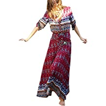 Simplee Apparel Women's Summer Sexy Floral Slit Long Sleeeves Boho Dress Maxi