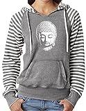 Ladies LITTLE BUDDHA HEAD Angel Fleece Striped Hoodie, Medium Graphite For Sale