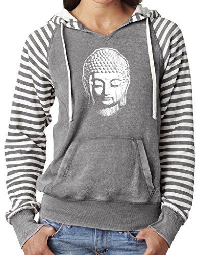 - Ladies Little Buddha Head Angel Fleece Striped Hoodie, 2XL Graphite
