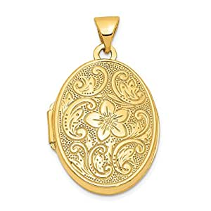 14k Yellow Gold Scrolled Floral Photo Pendant Charm Locket Chain Necklace That Holds Pictures Oval Fine Jewelry For Women Gift Set