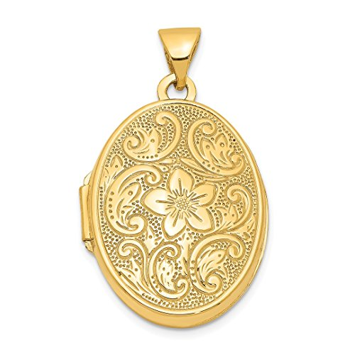 14k Yellow Gold Scrolled Floral Photo Pendant Charm Locket Chain Necklace That Holds Pictures Oval Fine Jewelry For Women Gift Set -