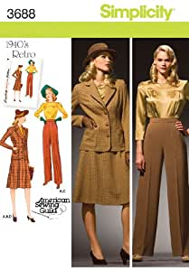 Simplicity American Sewing Guild Pattern 3688 1940's Retro Misses Blouse, Skirt, Pants, Lined Jacket Sizes 10-12-14-16-18