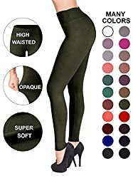 Satina High Waisted Leggings ?�� 22 Colors ?�� Super Soft Full Length Opaque Slim Plus Size Olive