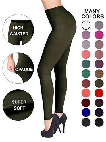 SATINA High Waisted Leggings - 22 Colors - Super Soft Full Length Opaque Slim (Plus Size, Olive)