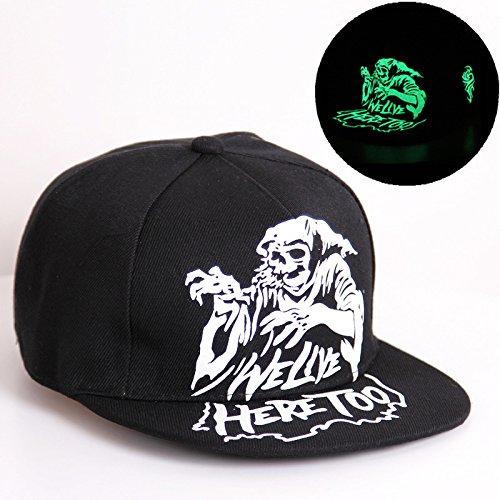 Dance Costumes Ideas For Hip Hop (Glow in the dark Print Costume Dance Hip Hop Flat Panel Brim Snapback Cap Hat)