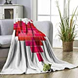 "socolala Blanket Valentines Day,Video Game Tetris Red Heart Vintage Pixelated Design Joyful Romantic,Red Pink Scarlet Throw Blanket Size:30""x50"""