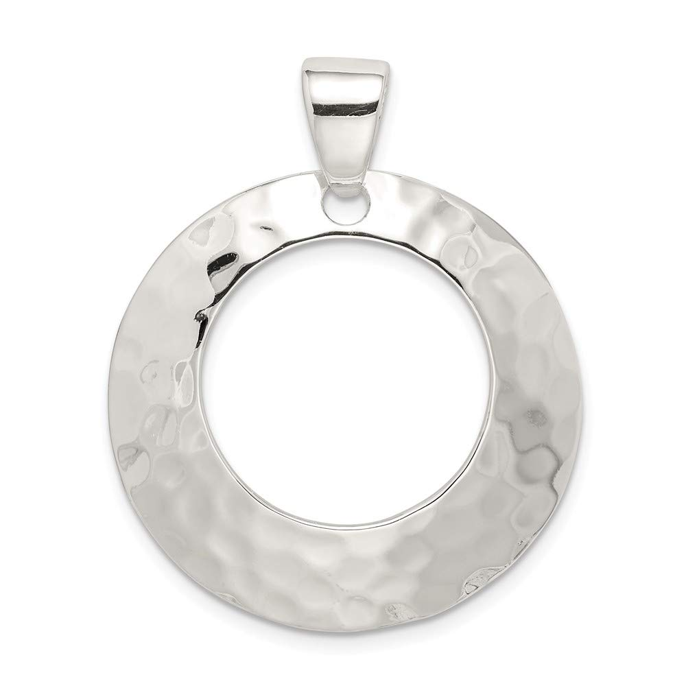 Sterling Silver Jewelry Pendants /& Charms 31 mm 37 mm Hammered Circle Pendant