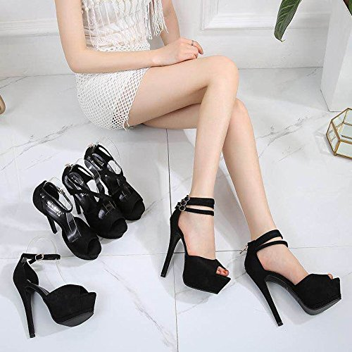 y los sandalias XiaoGao 12 moda de de con alto Super tacon cm pies zapatos negro de qq67x4R