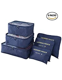 FanaticalPurchase 6Pcs Travel Luggage Packing Organizers Packing Cubes Ebags 3 Travel Cubes & 3 Pouches