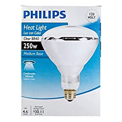 Phillips 416743 Heat Lamp 250-Watt BR40 Clear Flood Light Bulb 4 Pack