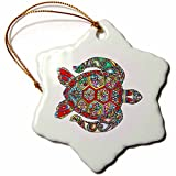 3dRose All Things Mexican - Image of Vividly Colored Sea Turtle - 3 inch Snowflake Porcelain Ornament (orn_279966_1)