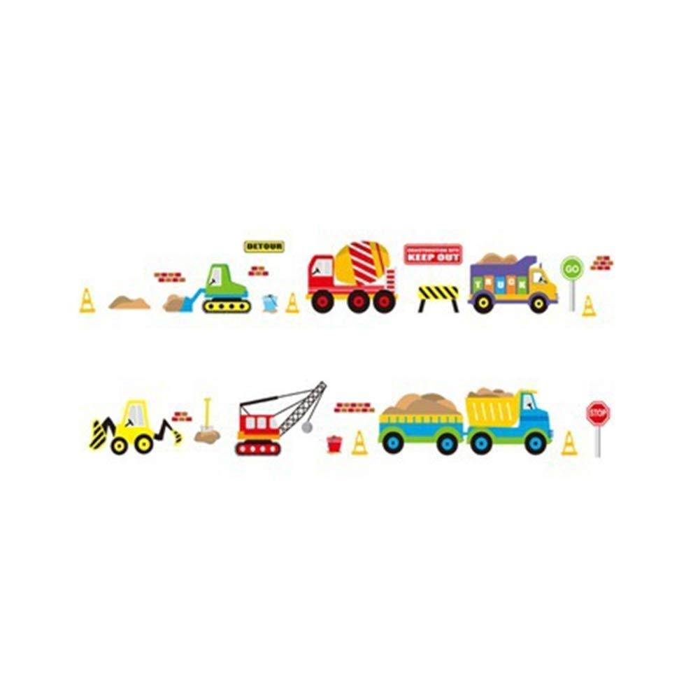 DDG EDMMS Cartoon Chantier de construction autocollant amovible Camion Signalisation routiè re beau mur Sticker enfant Nursery Chambre Salon Outils de bricolage