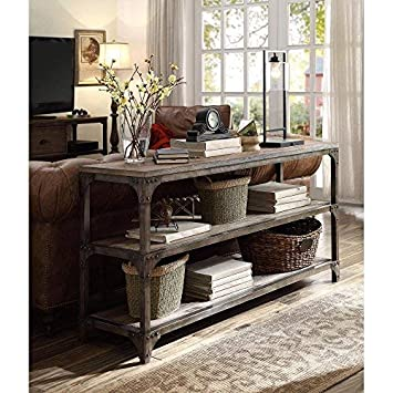 Acme Furniture 72685 Gorden 60 Server, Weathered Oak Antique Silver