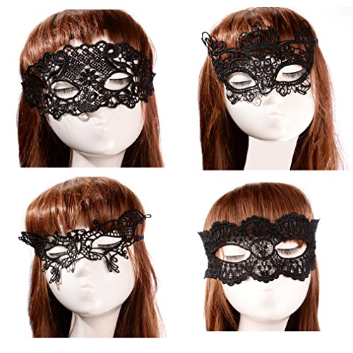 [October Elf Women Party Masquerade Costume Bar Lace Soft Eye Mask 4pcs (6)] (Soft And Sexy Mask)