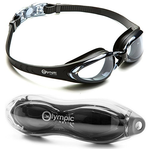 Olympic Nation Pro Swim Goggles, Black with Clear Lenses