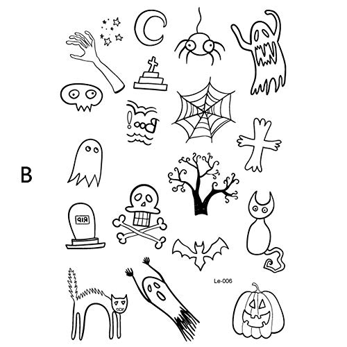 KathShop New Glow in The Dark Temporary Fake Flash Tattoo Stickers Luminous Body Art Tatoo for Halloween Day Fluorescent Party Supplies -