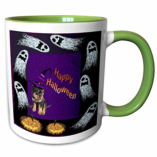 3dRose Taiche - Halloween - Rottweiler Puppies - Ghosts and Pumpkins - rottweiler, rottweilers, rottie, rotties, rottie owner, rottweiler puppy - 11oz Two-Tone Green Mug (mug_46972_7)