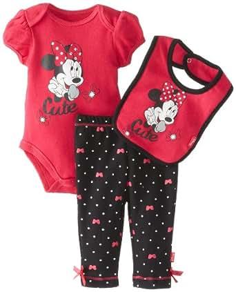 Disney Baby-Girls Newborn Minnie Creeper Pant Bib Layette, Fuchsia, 0-3 Months