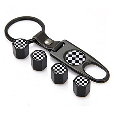 Flypc Tire Valve Stem Caps + Keychain Set Black & White Checkered Design with 4pcs Accessories Decal Parts Universal for Most Cars, Such as BMW Mini: Automotive