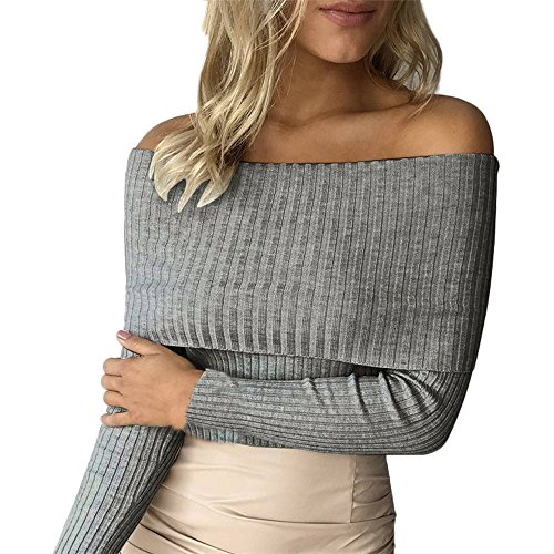Manches Femmes Gris Shirt Casual de Sweater Knitting Bretelles Courtes Tonsee Top Tight T d57xqdA8