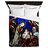 CafePress - Nativity In Stained Glass - Queen Duvet Cover, Printed Comforter Cover, Unique Bedding, Microfiber