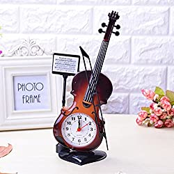 Chris.W Violin Quartz Analog Alarm Clock Desk Decoration - Great Gifts for Kids or Music Enthusiast - AA Battery Powered(Not Included) - Brown