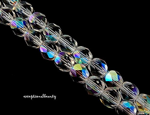 Pendant Jewelry Making 68 Czech Fire Polished Glass 6mm Faceted Crystal Aurora Borealis Beads (New 100 Glass Czech Faceted)