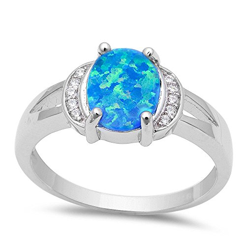 Lab Opal Blue Ring (Oval Lab Created Blue Fire Opal & Cubic Zirconia .925 Sterling Silver Ring Sizes 7)