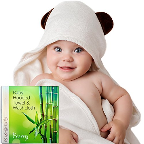 Hooded Baby Towel and Washcloth Set - 100% Organic Bamboo Bath Towel with Hood Extra Soft for Boys, Girls, Newborn, Infant and Toddler, Best Baby Shower Gift by (Best Baby Shower)