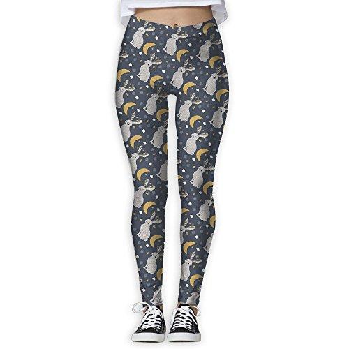 SNM HILL Serene Jackalope Women's Printed Yoga Leggings Sport Pants Stretchy Tights Elastic