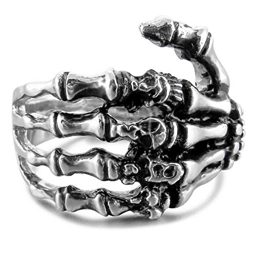 INBLUE Men's Stainless Steel Ring Band Silver Tone Black Skull Hand Bone Size7