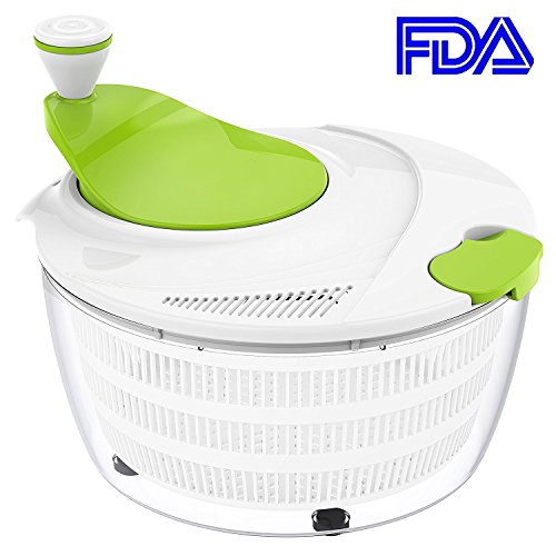 Smile mom Plastic Kitchen Large Salad Spinner-4.2 Quart Capacity Salad Tosser Lettuce Vegetable Dryer Strainer for Salad Sandwich BBQ with Fixed Buckle - FDA Approved, D669, Green-White